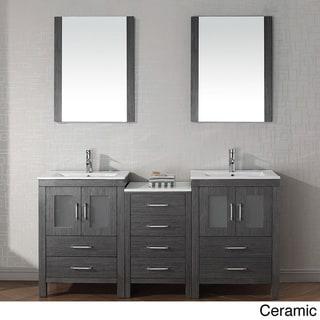 Virtu Usa Dior 66 Inch Double Sink Vanity Set In Zebra Grey Overstock Shopping Great Deals