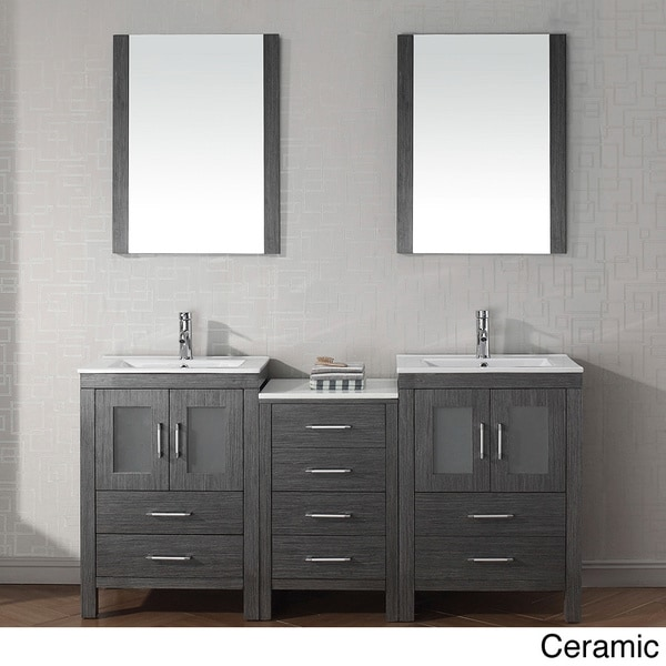 Virtu usa dior 66 inch double sink vanity set in zebra grey overstock shopping great deals for 66 inch bathroom vanity cabinets