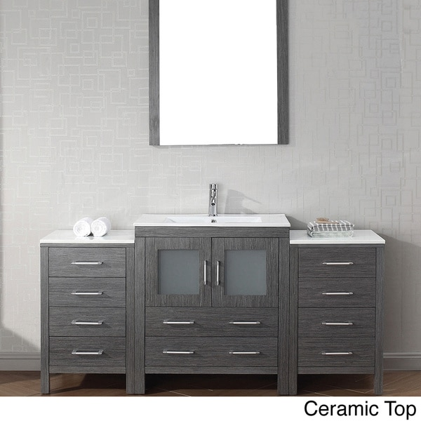 Virtu usa dior 66 inch single sink vanity set in zebra grey overstock shopping great deals for 66 inch bathroom vanity cabinets