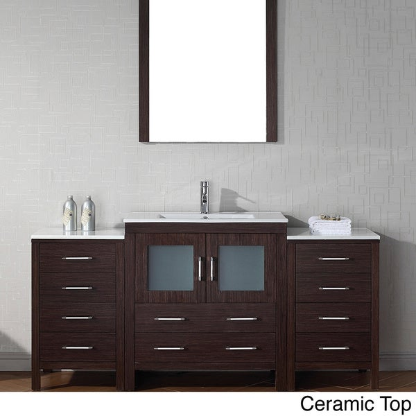 Virtu usa dior 68 inch single sink vanity set in espresso 16129155 overstock shopping for 66 inch bathroom vanity cabinets