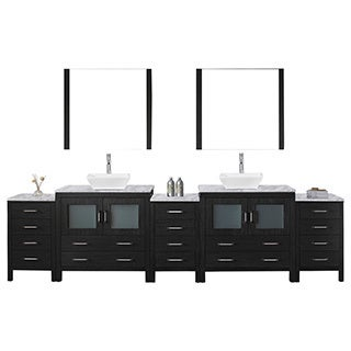Virtu USA Dior 126 inch Double Sink Vanity Set in Zebra Grey