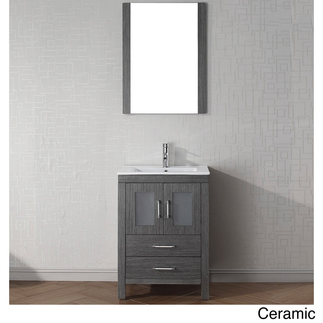 Virtu USA Dior 24 inch Single Sink Vanity Set in Zebra Grey Overstock Shopp