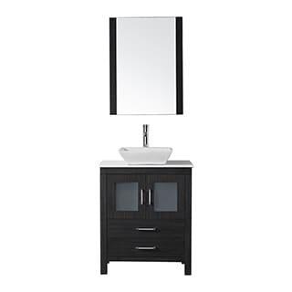 Virtu USA Dior 28 inch Single Sink Vanity Set in Zebra Grey