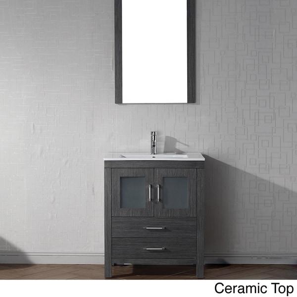 Virtu USA Dior 28 inch Single Sink Vanity Set in Zebra Grey - 16129175 ...