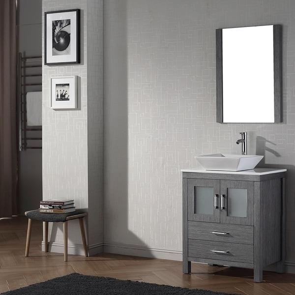 virtu usa dior 28 inch single sink vanity set in zebra grey 16129175