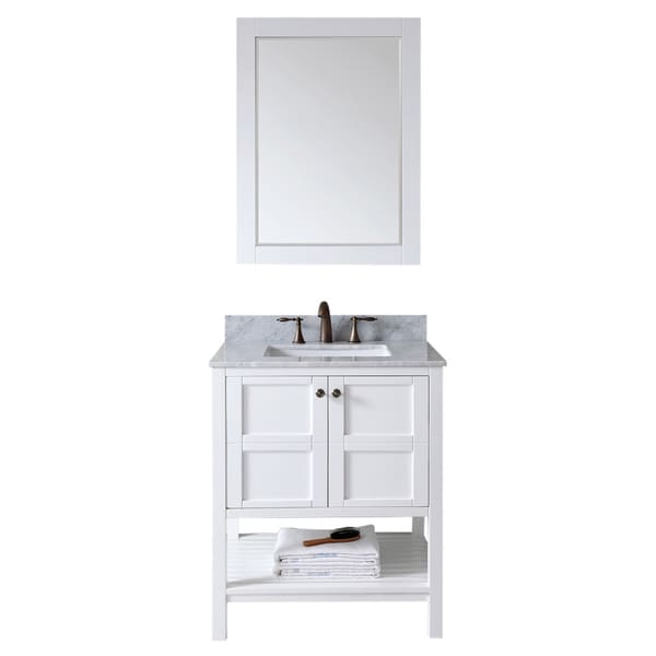 USA Winterfell 30 Inch Single Sink White Vanity With Carrara White