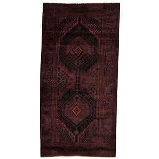Antique 1960's Persian Hand-knotted Tribal Mazlagan Hamadan Burgundy/ Navy Wool Rug (5'1 x 10'2)