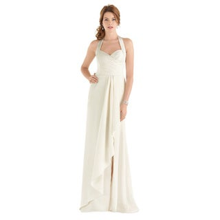 After Six Bridal Style Women's Draped Bodice Halter Wedding Gown