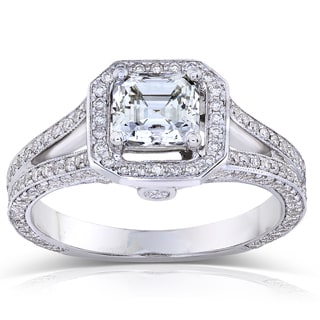 Annello 18k White Gold Certified 1 3/4ct TDW Asscher-cut Diamond Engagement Ring (H, SI1)