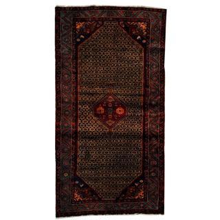 Antique 1960's Persian Hand-knotted Tribal Nahavand Hamadan Brown/ Blue Wool Rug (4'8 x 9'2)