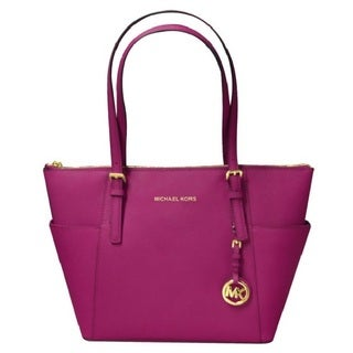 Michael Kors Jet Set Medium Travel Top Zip Saffiano Tote - Fuchsia