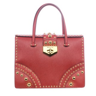Prada B2725M 053 F068Z Studded Saffiano Leather Flap Bag