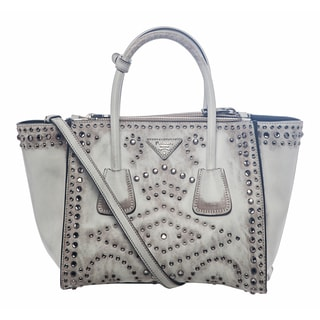 Prada B2625H 2E9O F0009 Vintage Embellished Leather Tote