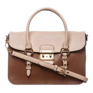 Miu Miu RN1013 2A11 F0QCA Madras Two-tone Leather Shoulder Bag