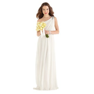 After Six Bridal Women's One-shoulder Crinkle Chiffon Bridal Gown
