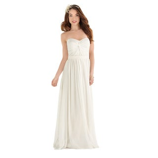 Dessy After Six Bridal Women's Full Length Chiffon Strapless Wedding Dress