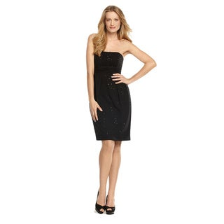Dessy Collection Women's Megan Strapless Black Sequin Crepe Chiffon Dress