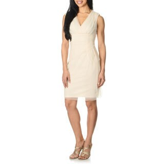 London Times Women's Vanilla Mesh Sheath Dress