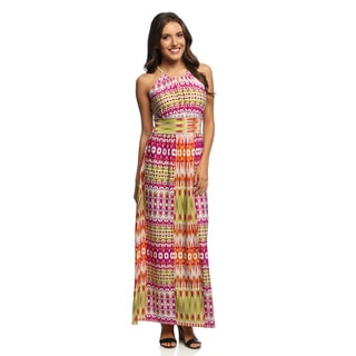 London Times Women's Magenta Abstract Print Maxi Dress
