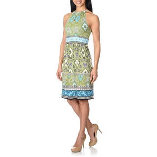 London Times Women's Blue/ Green Abstract Floral Print Dress