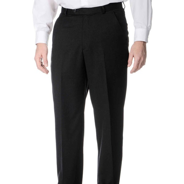 Henry Grethel Men's Big and Tall Long Rise Flat Front Charcoal Pants