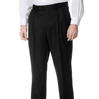 Henry Grethel Men's Big and Tall Pleated Front Charcoal Pants