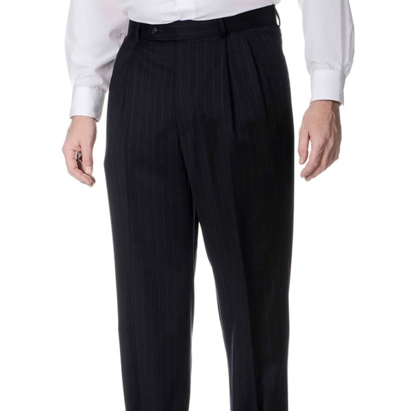 Henry Grethel Men's Big and Tall Navy Pinstripe Pleated Front Pants