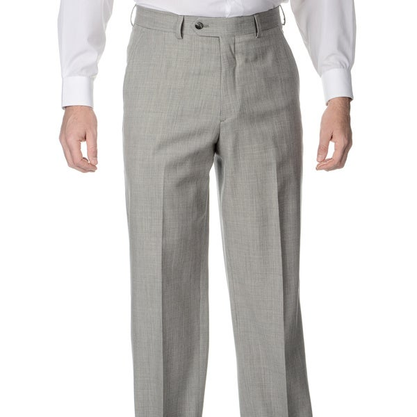 Henry Grethel Men's Big and Tall Pleated Grey Stretch Suit Pants