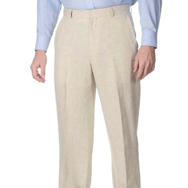 Henry Grethel Men's Big & Tall Flat Front Natural Pant