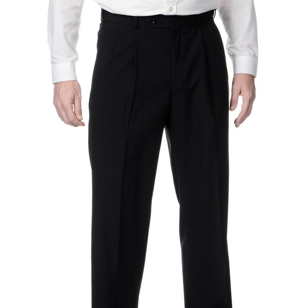 Henry Grethel Men's Big & Tall Black Expanded Waist Pleated Front Pants