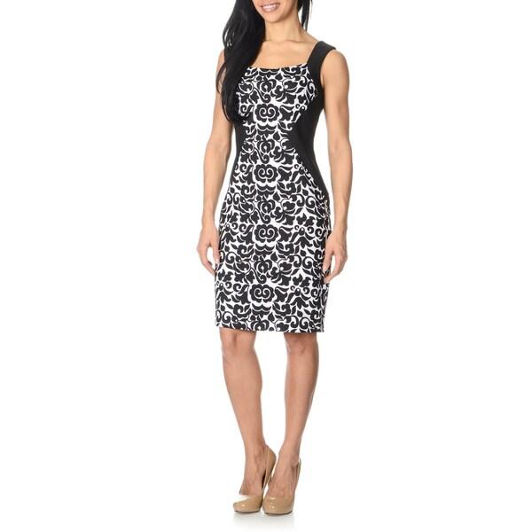 London Times Women's Black/ White Printed Dress