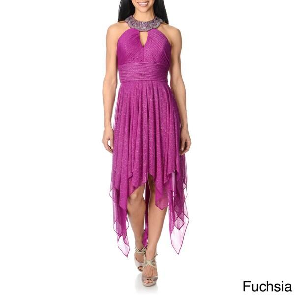 Cachet Women's Halter Handkerchief Hem Formal Dress