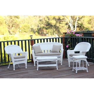 White Wicker 5-piece Conversation Set with Cushions