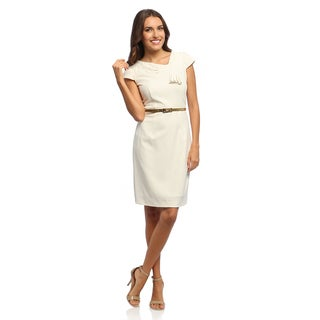 Studio I Women's Ivory Belted Dress