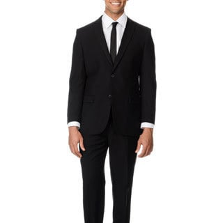 Circola Moda Men's Modern Fit Black Notch Lapel Suit