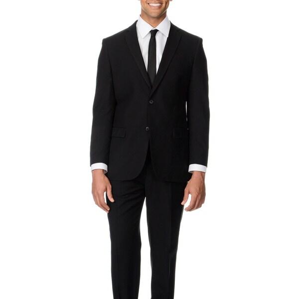 Circola Moda Men's Modern Fit Black Notch Lapel Suit
