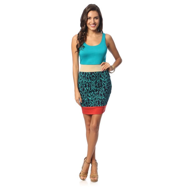 Hadari IKAT Sleeveless Turquoise Dress