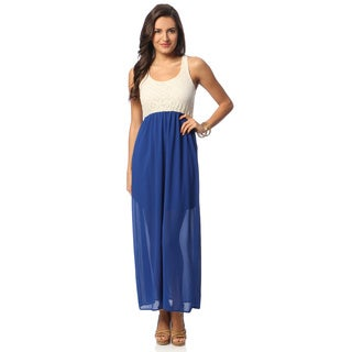 Women's Two-tone Elastic Waist Sleeveless Dress