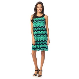 Women's Turquoise Chevron Print Yoked Dress
