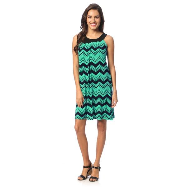 Hadari Women's Turquoise Chevron Print Yoked Dress