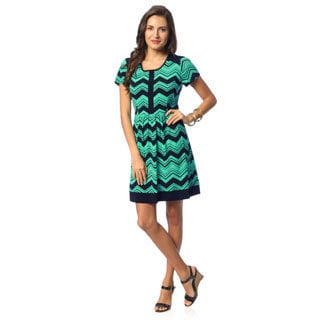 Women's Turquoise Chevron Print Shift Dress