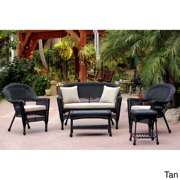 Black Wicker 5 piece Conversation Set with Cushions Overstock