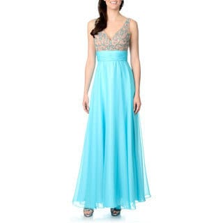 Ignite Women's Turquoise Beaded Empire Waist Chiffon Gown
