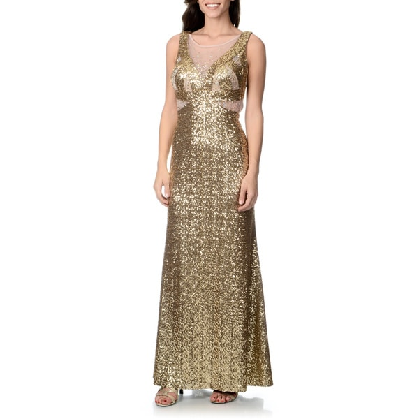 Ignite Women's Gold Sequin Mesh Insert Crossback Gown