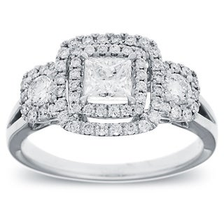 14k White Gold 1ct TDW Diamond Double Halo Vintage Engagement Ring (G-H, SI2-I1)