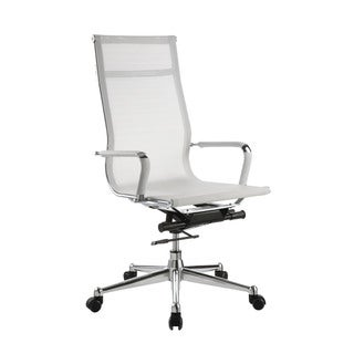 Pantera White Nylon and Chrome High Back Desk Chair