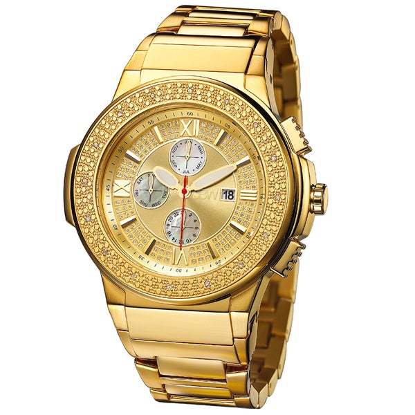 JBW Men's 'Saxon' Goldplated Crystal Watch 12681428