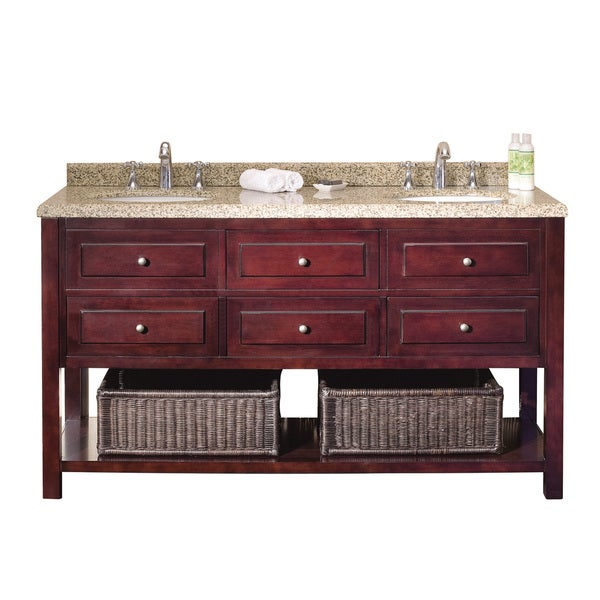 Ove Decors Danny 60-inch Bath Vanity with Solid Wood Construction and Granite Countertop