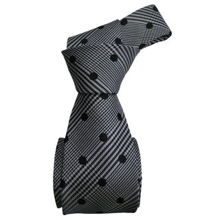 Dmitry Men's Italian Grey/ Black Polka Dot Silk Tie with Bonus Tie