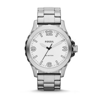 Fossil Men's JR1456 'Nate' Stainless Steel White Dial Analog Watch